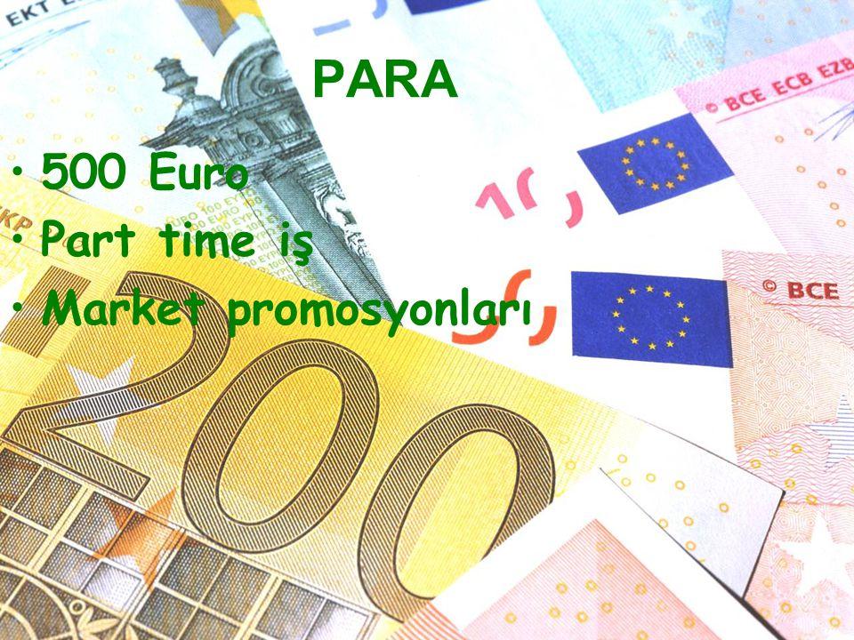 PARA 500 Euro Part time iş Market promosyonları