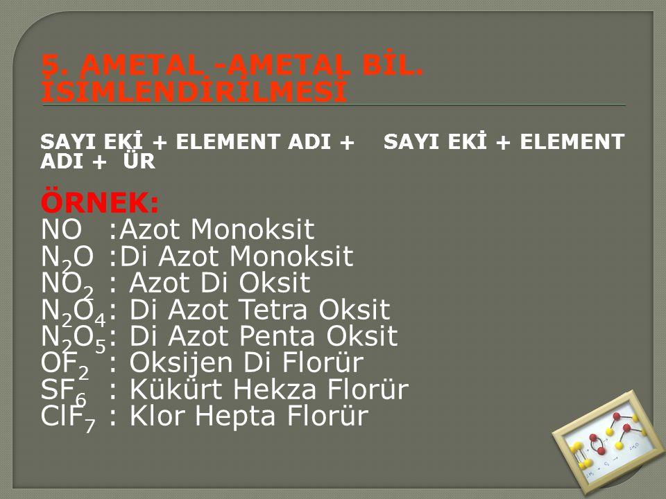 5. AMETAL -AMETAL BİL. İSİMLENDİRİLMESİ SAYI EKİ + ELEMENT ADI + SAYI EKİ + ELEMENT ADI + ÜR ÖRNEK: NO:Azot Monoksit N 2 O:Di Azot Monoksit NO 2 : Azo