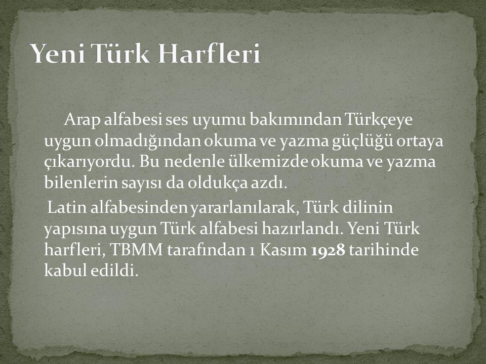 Arap alfabesi ses uyumu bakımından Türkçeye uygun olmadığından okuma ve yazma güçlüğü ortaya çıkarıyordu.