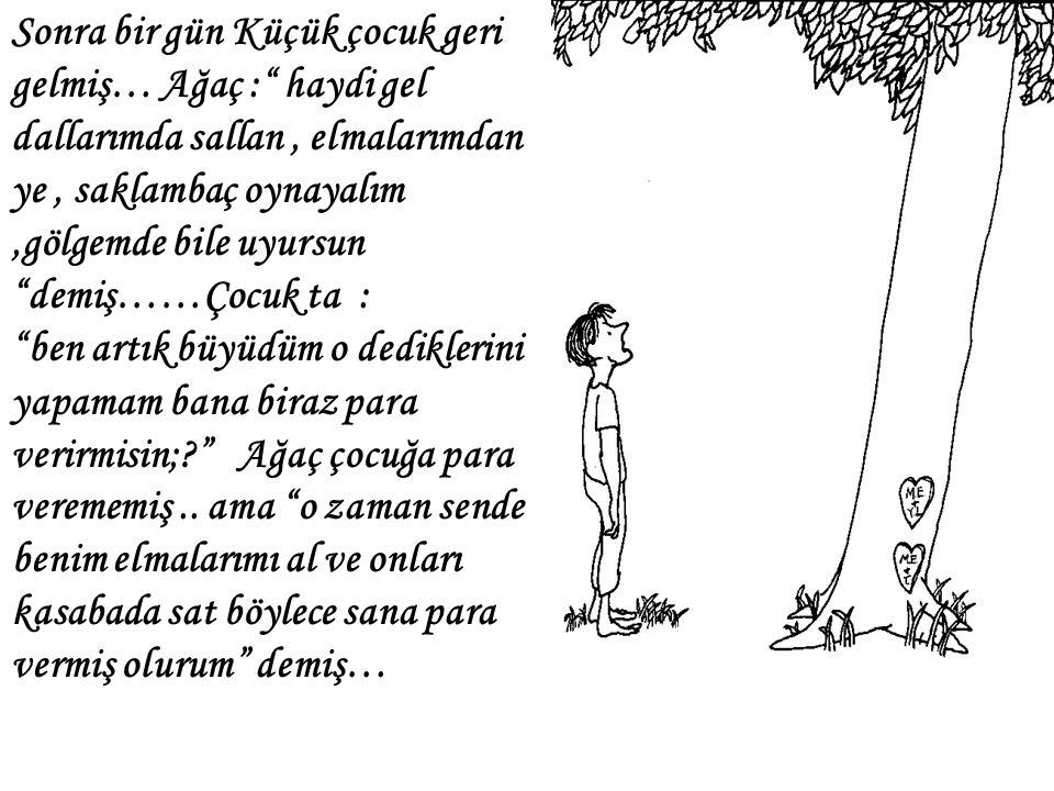 """Sonra bir gün Küçük çocuk geri gelmiş… Ağaç :"""" haydi gel dallarımda sallan, elmalarımdan ye, saklambaç oynayalım,gölgemde bile uyursun """"demiş……Çocuk t"""