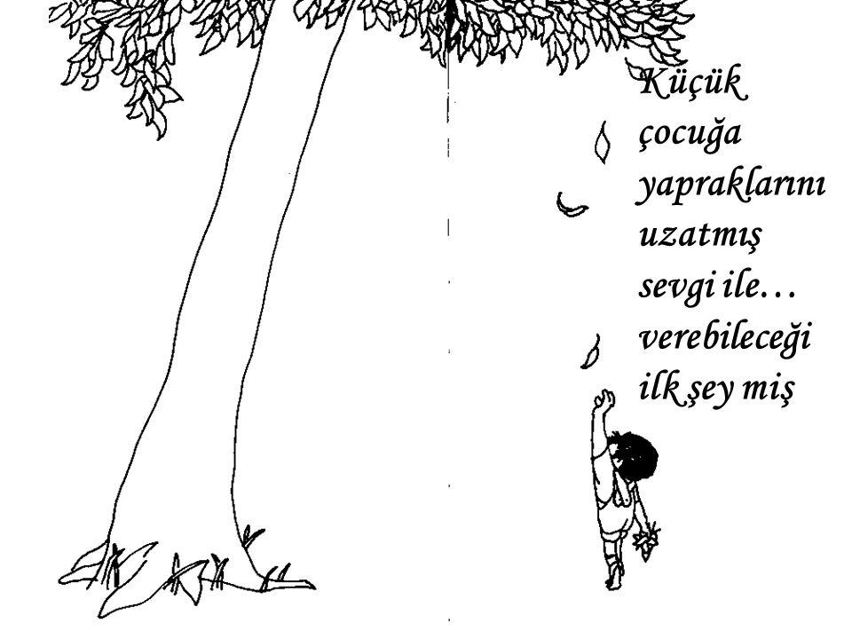 Küçük çocuğa yapraklarını uzatmış sevgi ile… verebileceği ilk şey miş