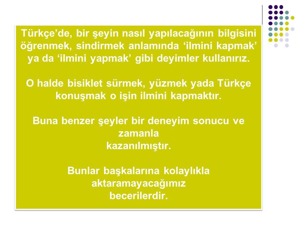 Türkçe'de, bir şeyin nasıl yapılacağının bilgisini öğrenmek, sindirmek anlamında 'ilmini kapmak' ya da 'ilmini yapmak' gibi deyimler kullanırız.