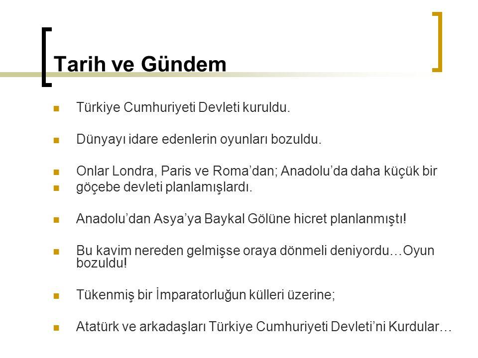 Tarih ve Gündem Türkiye Cumhuriyeti Devleti kuruldu. Dünyayı idare edenlerin oyunları bozuldu. Onlar Londra, Paris ve Roma'dan; Anadolu'da daha küçük