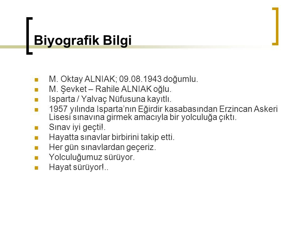 Biyografik Bilgi M. Oktay ALNIAK; 09.08.1943 doğumlu. M. Şevket – Rahile ALNIAK oğlu. Isparta / Yalvaç Nüfusuna kayıtlı. 1957 yılında Isparta'nın Eğir