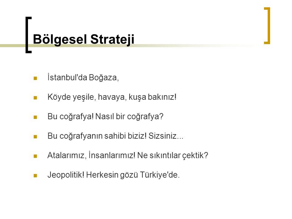Bölgesel Strateji İstanbul'da Boğaza, Köyde yeşile, havaya, kuşa bakınız! Bu coğrafya! Nasıl bir coğrafya? Bu coğrafyanın sahibi biziz! Sizsiniz... At