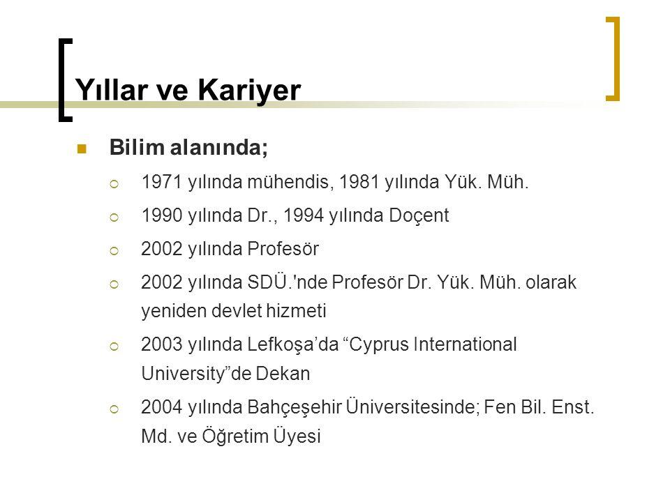 Yıllar ve Kariyer Bilim alanında;  1971 yılında mühendis, 1981 yılında Yük. Müh.  1990 yılında Dr., 1994 yılında Doçent  2002 yılında Profesör  20