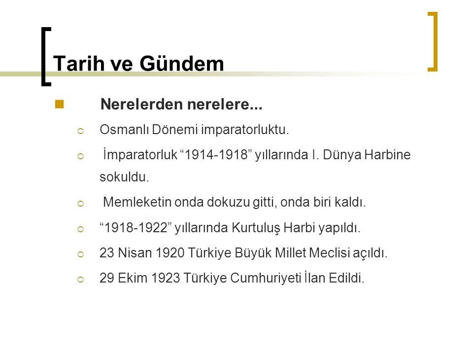 """Tarih ve Gündem Nerelerden nerelere...  Osmanlı Dönemi imparatorluktu.  İmparatorluk """"1914-1918"""" yıllarında I. Dünya Harbine sokuldu.  Memleketin o"""