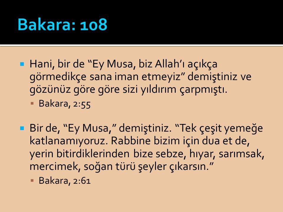 """ Hani, bir de """"Ey Musa, biz Allah'ı açıkça görmedikçe sana iman etmeyiz"""" demiştiniz ve gözünüz göre göre sizi yıldırım çarpmıştı.  Bakara, 2:55  Bi"""