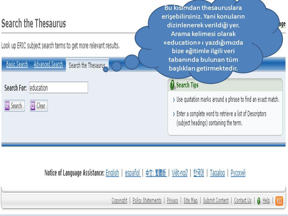 Bu kısımdan thesauruslara erişebilirsiniz. Yani konuların dizinlenerek verildiği yer.