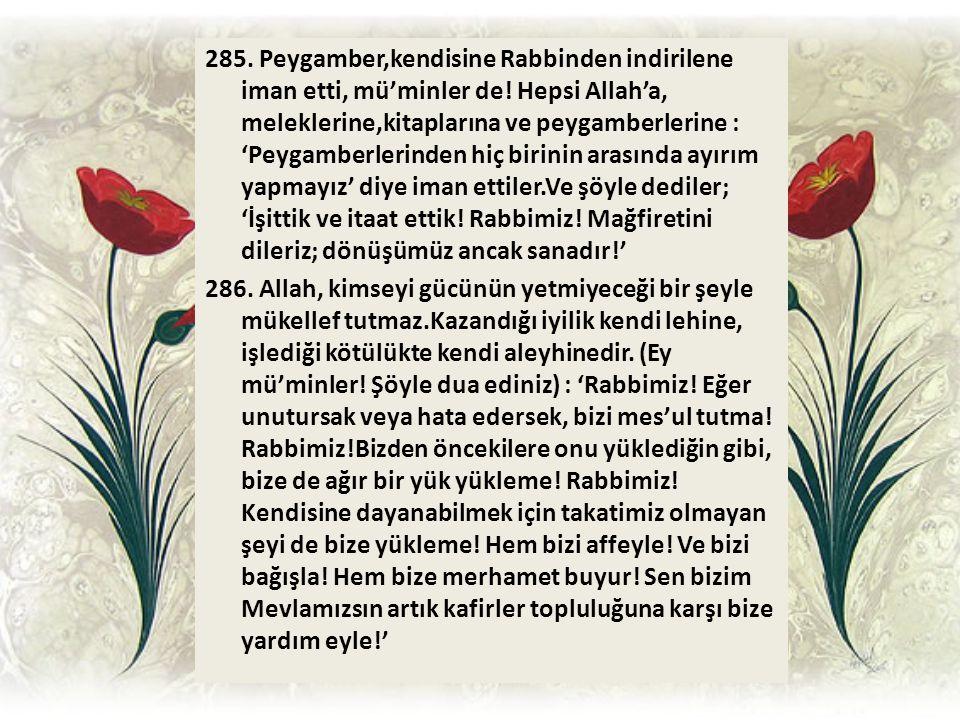 285. Peygamber,kendisine Rabbinden indirilene iman etti, mü'minler de! Hepsi Allah'a, meleklerine,kitaplarına ve peygamberlerine : 'Peygamberlerinden