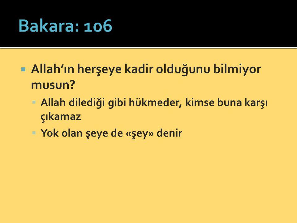  Allah'ın herşeye kadir olduğunu bilmiyor musun.