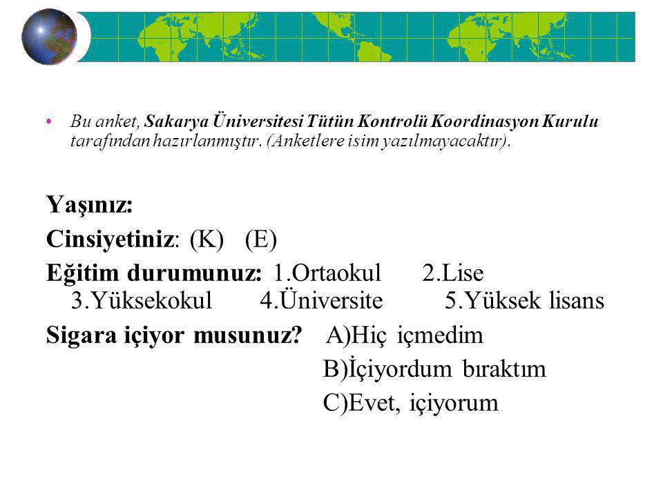 Bu anket, Sakarya Üniversitesi Tütün Kontrolü Koordinasyon Kurulu tarafından hazırlanmıştır. (Anketlere isim yazılmayacaktır). Yaşınız: Cinsiyetiniz: