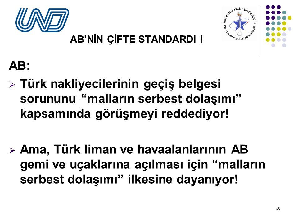 30 AB'NİN ÇİFTE STANDARDI .