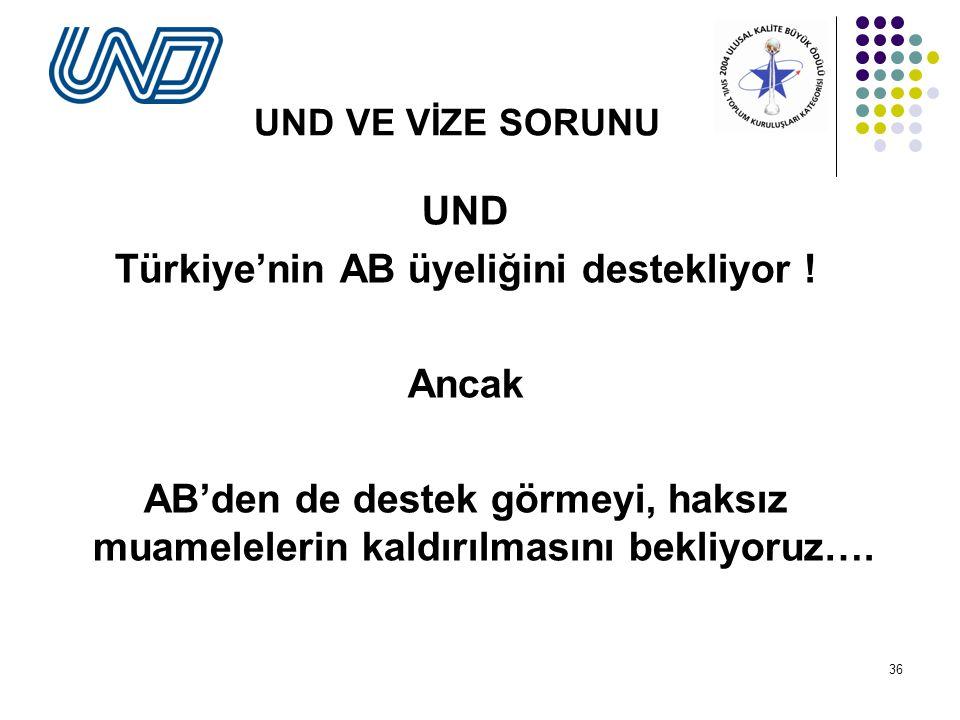 36 UND VE VİZE SORUNU UND Türkiye'nin AB üyeliğini destekliyor .