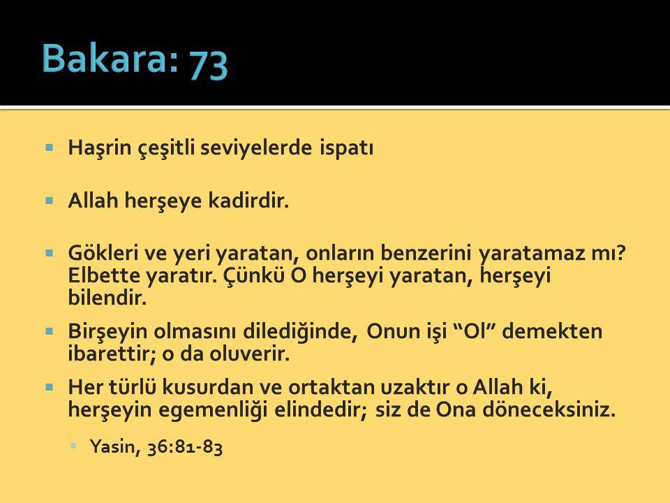  Haşrin çeşitli seviyelerde ispatı  Allah herşeye kadirdir.