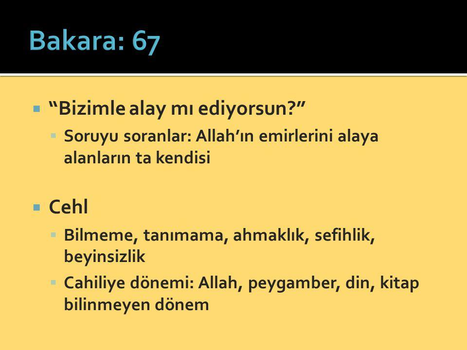 """ """"Bizimle alay mı ediyorsun?""""  Soruyu soranlar: Allah'ın emirlerini alaya alanların ta kendisi  Cehl  Bilmeme, tanımama, ahmaklık, sefihlik, beyin"""