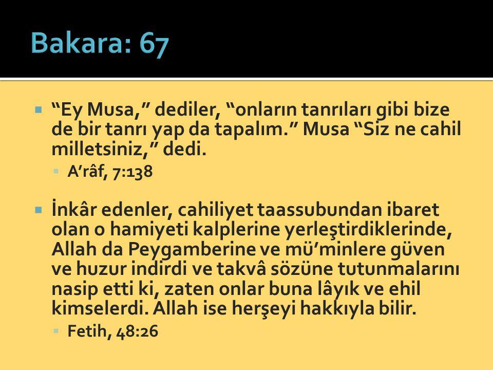 """ """"Ey Musa,"""" dediler, """"onların tanrıları gibi bize de bir tanrı yap da tapalım."""" Musa """"Siz ne cahil milletsiniz,"""" dedi.  A'râf, 7:138  İnkâr edenler"""