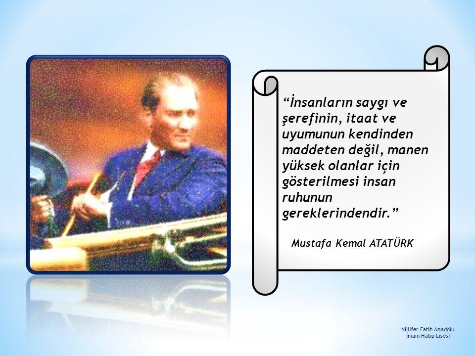 ''Dinde zorlama yoktur. (Kur'an, Bakara 256) İnançlara Saygı Nilüfer Fatih Anadolu İmam Hatip Lisesi