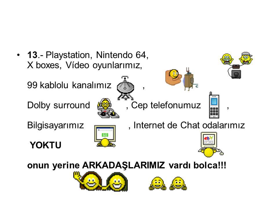 13.- Playstation, Nintendo 64, X boxes, Vídeo oyunlarımız, 99 kablolu kanalımız, Dolby surround, Cep telefonumuz, Bilgisayarımız, Internet de Chat oda