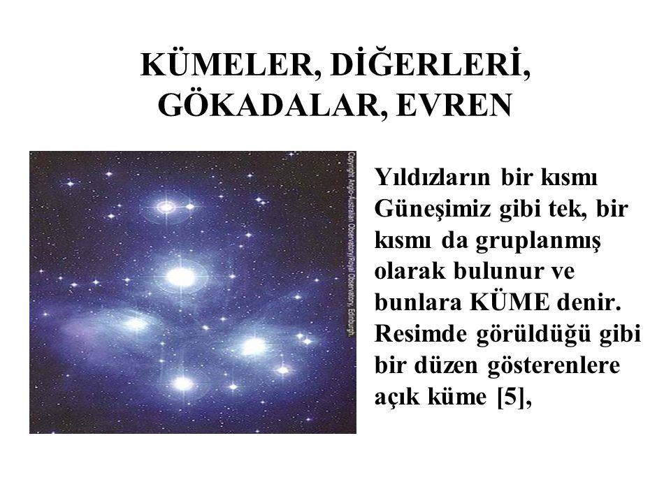 KÜMELER, DİĞERLERİ, GÖKADALAR, EVREN Yıldızların bir kısmı Güneşimiz gibi tek, bir kısmı da gruplanmış olarak bulunur ve bunlara KÜME denir. Resimde g