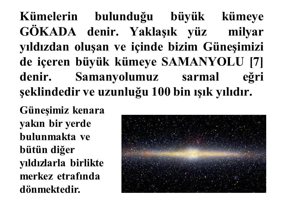 Kümelerin bulunduğu büyük kümeye GÖKADA denir. Yaklaşık yüz milyar yıldızdan oluşan ve içinde bizim Güneşimizi de içeren büyük kümeye SAMANYOLU [7] de