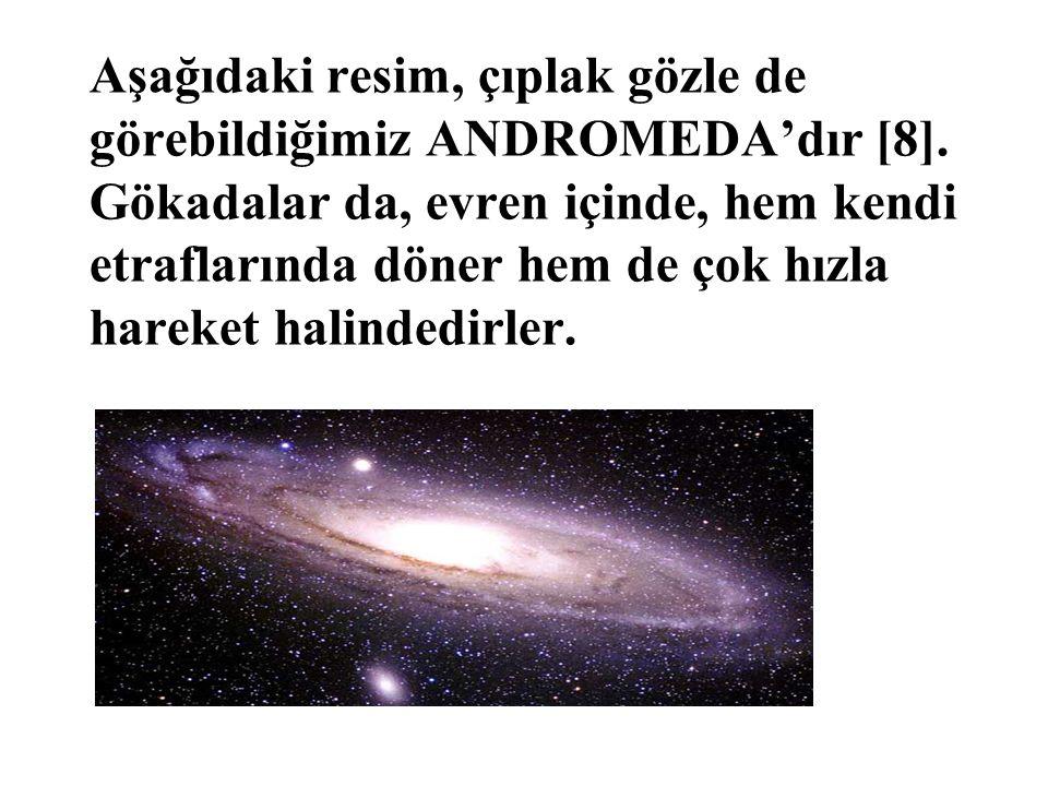 Aşağıdaki resim, çıplak gözle de görebildiğimiz ANDROMEDA'dır [8]. Gökadalar da, evren içinde, hem kendi etraflarında döner hem de çok hızla hareket h