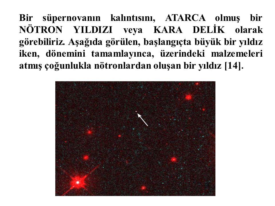 Bir süpernovanın kalıntısını, ATARCA olmuş bir NÖTRON YILDIZI veya KARA DELİK olarak görebiliriz. Aşağıda görülen, başlangıçta büyük bir yıldız iken,