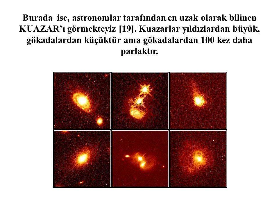 Burada ise, astronomlar tarafından en uzak olarak bilinen KUAZAR'ı görmekteyiz [19]. Kuazarlar yıldızlardan büyük, gökadalardan küçüktür ama gökadalar