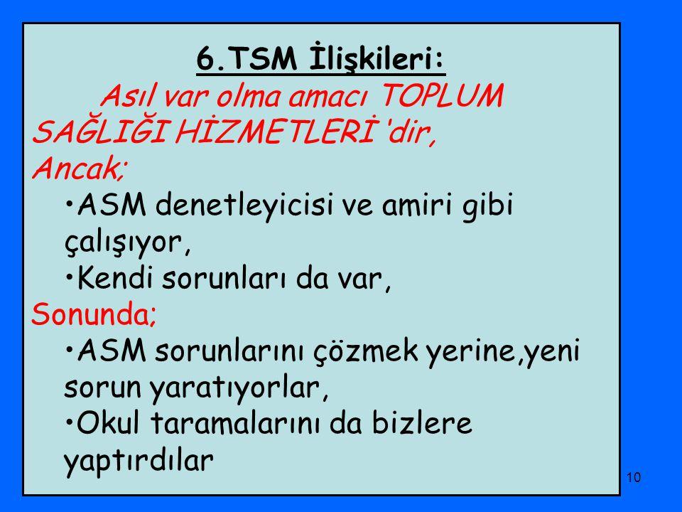 PHD Adana Şubesi10 6.TSM İlişkileri: Asıl var olma amacı TOPLUM SAĞLIĞI HİZMETLERİ 'dir, Ancak; ASM denetleyicisi ve amiri gibi çalışıyor, Kendi sorun