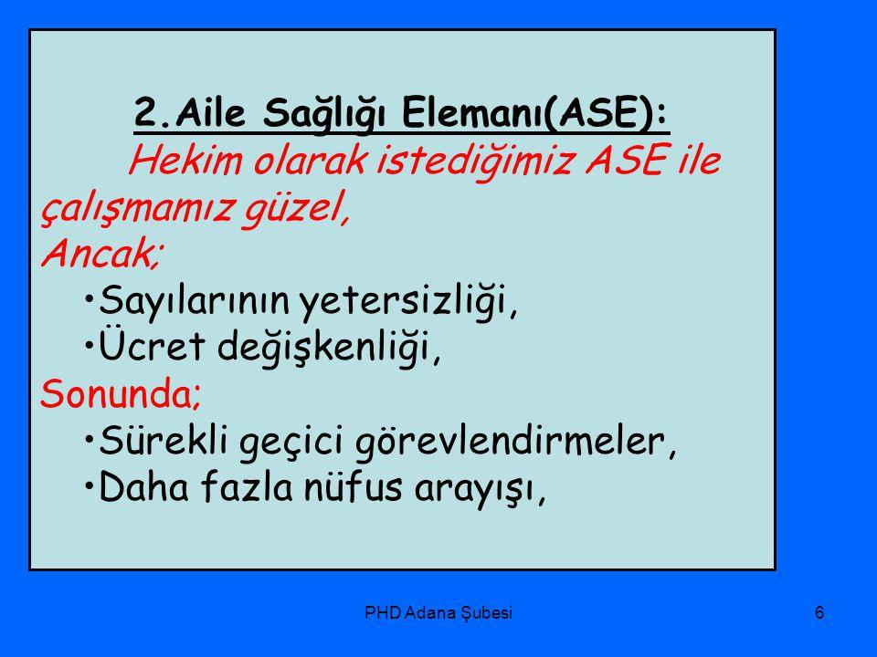 PHD Adana Şubesi6 2.Aile Sağlığı Elemanı(ASE): Hekim olarak istediğimiz ASE ile çalışmamız güzel, Ancak; Sayılarının yetersizliği, Ücret değişkenliği,