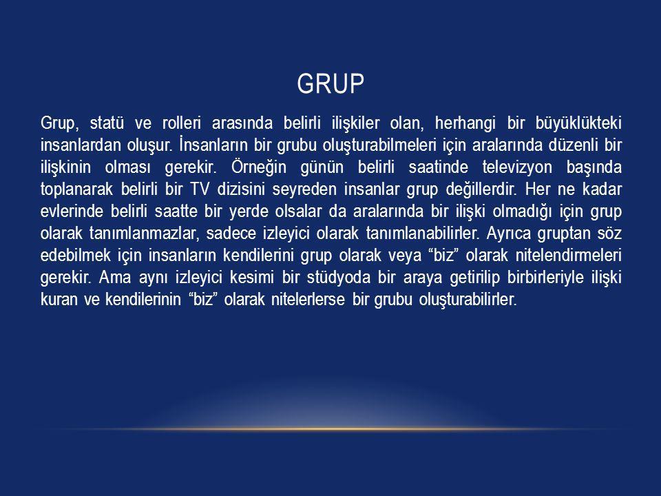 GRUP Grup, statü ve rolleri arasında belirli ilişkiler olan, herhangi bir büyüklükteki insanlardan oluşur. İnsanların bir grubu oluşturabilmeleri için