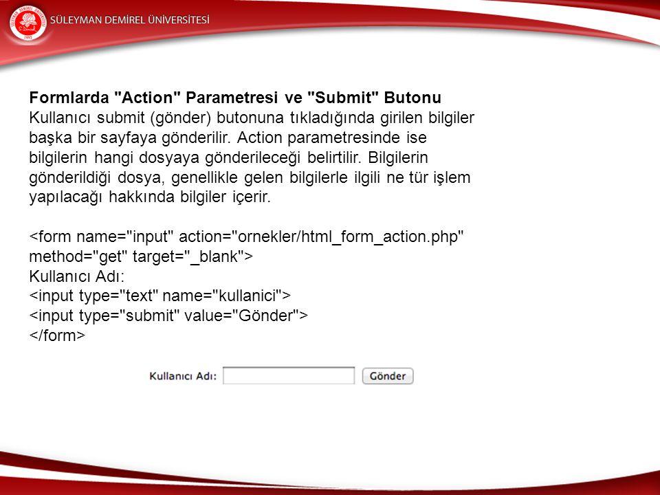 Formlarda Action Parametresi ve Submit Butonu Kullanıcı submit (gönder) butonuna tıkladığında girilen bilgiler başka bir sayfaya gönderilir.