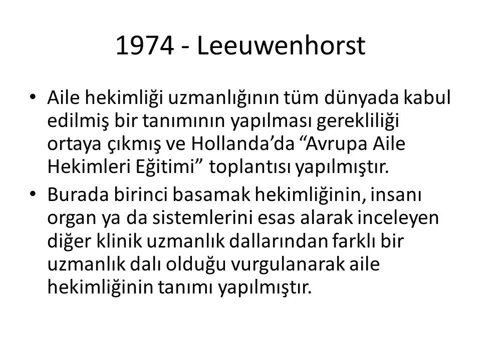"""1974 - Leeuwenhorst Aile hekimliği uzmanlığının tüm dünyada kabul edilmiş bir tanımının yapılması gerekliliği ortaya çıkmış ve Hollanda'da """"Avrupa Ail"""