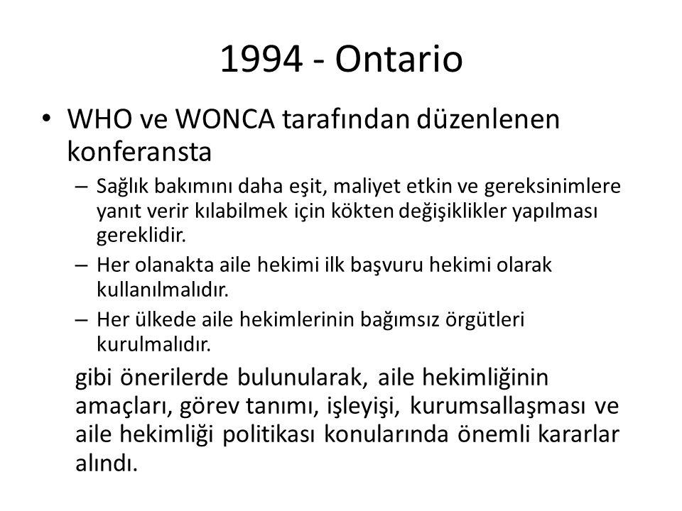 1994 - Ontario WHO ve WONCA tarafından düzenlenen konferansta – Sağlık bakımını daha eşit, maliyet etkin ve gereksinimlere yanıt verir kılabilmek için