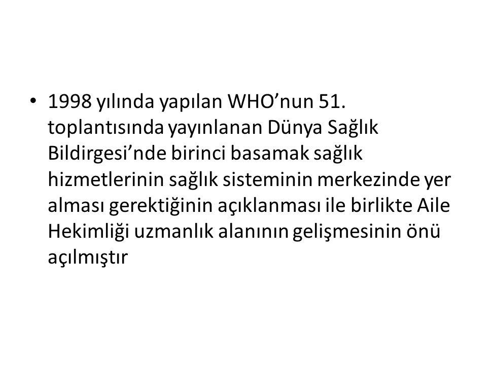 1998 yılında yapılan WHO'nun 51. toplantısında yayınlanan Dünya Sağlık Bildirgesi'nde birinci basamak sağlık hizmetlerinin sağlık sisteminin merkezind