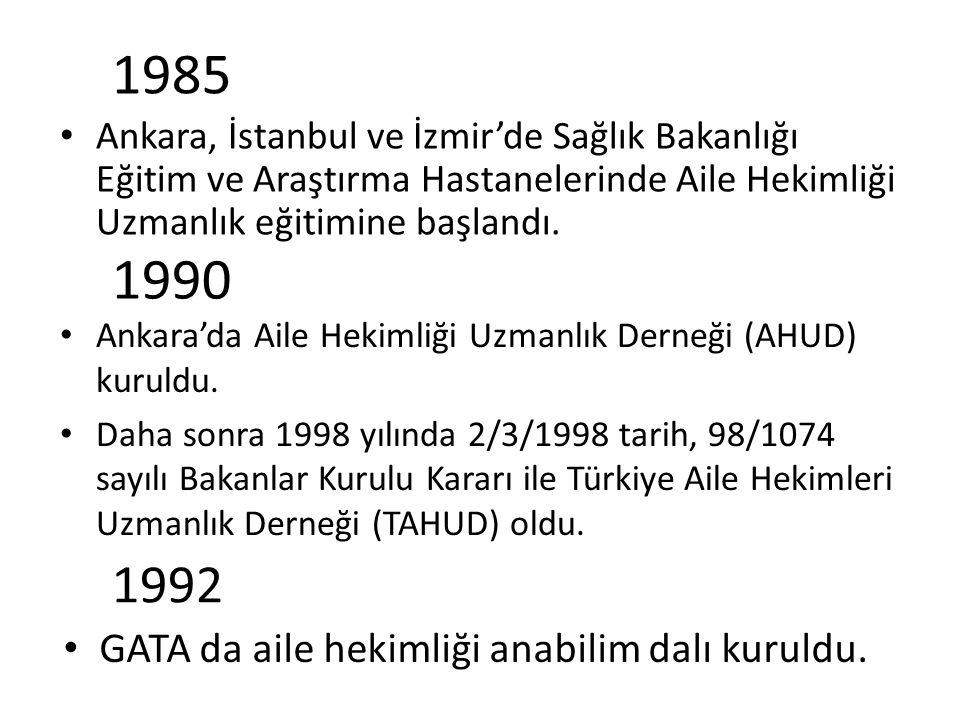 1985 Ankara, İstanbul ve İzmir'de Sağlık Bakanlığı Eğitim ve Araştırma Hastanelerinde Aile Hekimliği Uzmanlık eğitimine başlandı. 1990 Ankara'da Aile