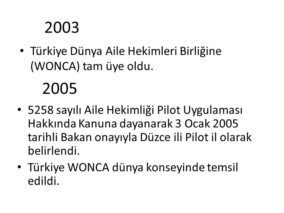 2003 Türkiye Dünya Aile Hekimleri Birliğine (WONCA) tam üye oldu. 2005 5258 sayılı Aile Hekimliği Pilot Uygulaması Hakkında Kanuna dayanarak 3 Ocak 20