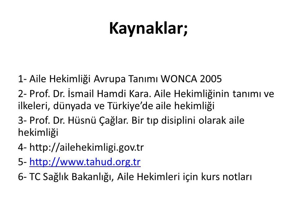Kaynaklar; 1- Aile Hekimliği Avrupa Tanımı WONCA 2005 2- Prof. Dr. İsmail Hamdi Kara. Aile Hekimliğinin tanımı ve ilkeleri, dünyada ve Türkiye'de aile