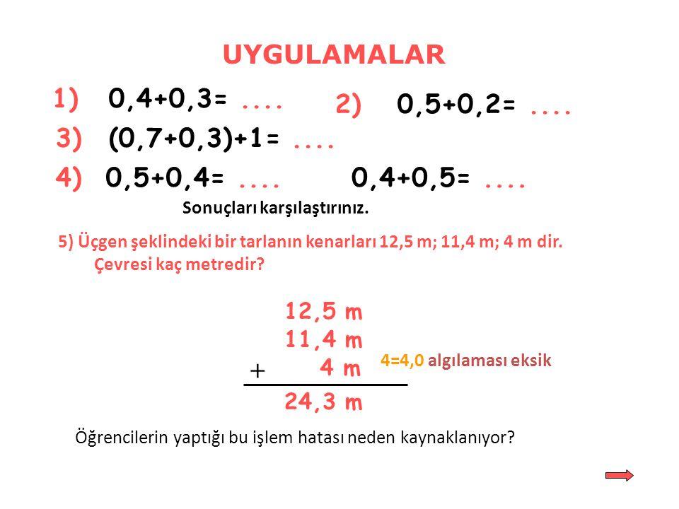 0 0,10,20,30,40,50,60,70,80,9 1 0,4 0,5 0,3 0,6 0,4+0,5 - 0,3 = 0,9 - 0,3 = 0,6 Toplama ve Çıkarma Modeli