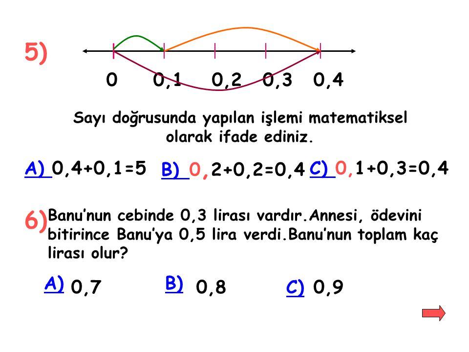 UYGULAMALAR 1)0,4+0,3=.... 2)0,5+0,2=.... 3)(0,7+0,3)+1=.... Sonuçları karşılaştırınız. 4)0,5+0,4=....0,4+0,5=.... 5) Üçgen şeklindeki bir tarlanın ke