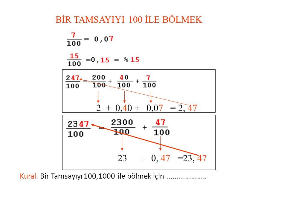 BİR TAMSAYIYI 10 İLE BÖLMEK Kural. Bir tamsayıyı 10 ile bölmek için..................
