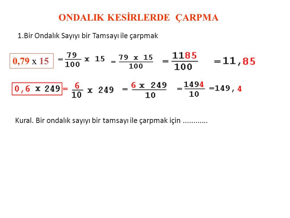 BİR TAMSAYIYI 100 İLE BÖLMEK 2 + 0,40 + 0,07= 2, 47 23 +0, 47=23, 47 Kural. Bir Tamsayıyı 100,1000 ile bölmek için....................