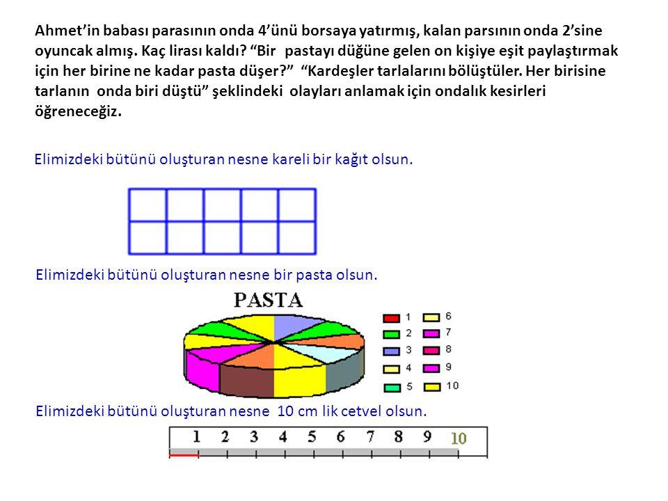 Örnek : 24,316 ondalık kesrinin basamak değerlerini gösterelim. 2 4, 3 1 6 20 2 x 10 6 x = 0,00 4 4 x 1 1 x = 0,01 3 x = 0,3 Sayı değerleri, doğal say