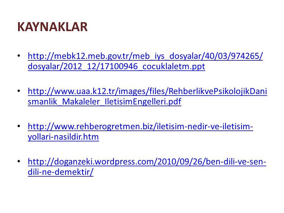 KAYNAKLAR http://mebk12.meb.gov.tr/meb_iys_dosyalar/40/03/974265/ dosyalar/2012_12/17100946_cocuklaletm.ppt http://mebk12.meb.gov.tr/meb_iys_dosyalar/40/03/974265/ dosyalar/2012_12/17100946_cocuklaletm.ppt http://www.uaa.k12.tr/images/files/RehberlikvePsikolojikDani smanlik_Makaleler_IletisimEngelleri.pdf http://www.uaa.k12.tr/images/files/RehberlikvePsikolojikDani smanlik_Makaleler_IletisimEngelleri.pdf http://www.rehberogretmen.biz/iletisim-nedir-ve-iletisim- yollari-nasildir.htm http://www.rehberogretmen.biz/iletisim-nedir-ve-iletisim- yollari-nasildir.htm http://doganzeki.wordpress.com/2010/09/26/ben-dili-ve-sen- dili-ne-demektir/ http://doganzeki.wordpress.com/2010/09/26/ben-dili-ve-sen- dili-ne-demektir/