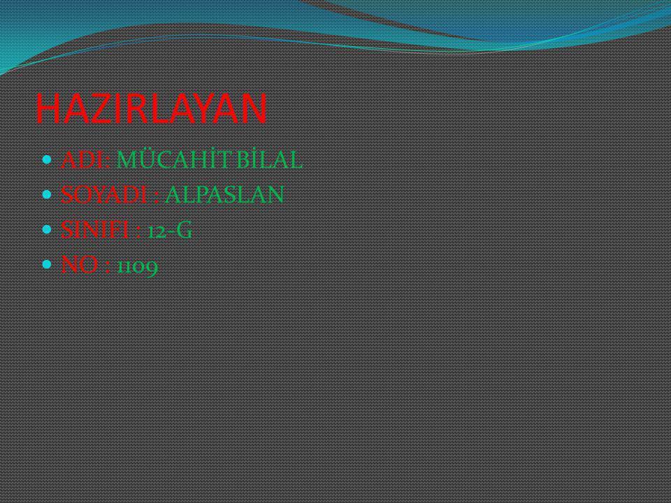 HAZIRLAYAN ADI: MÜCAHİT BİLAL SOYADI : ALPASLAN SINIFI : 12-G NO : 1109