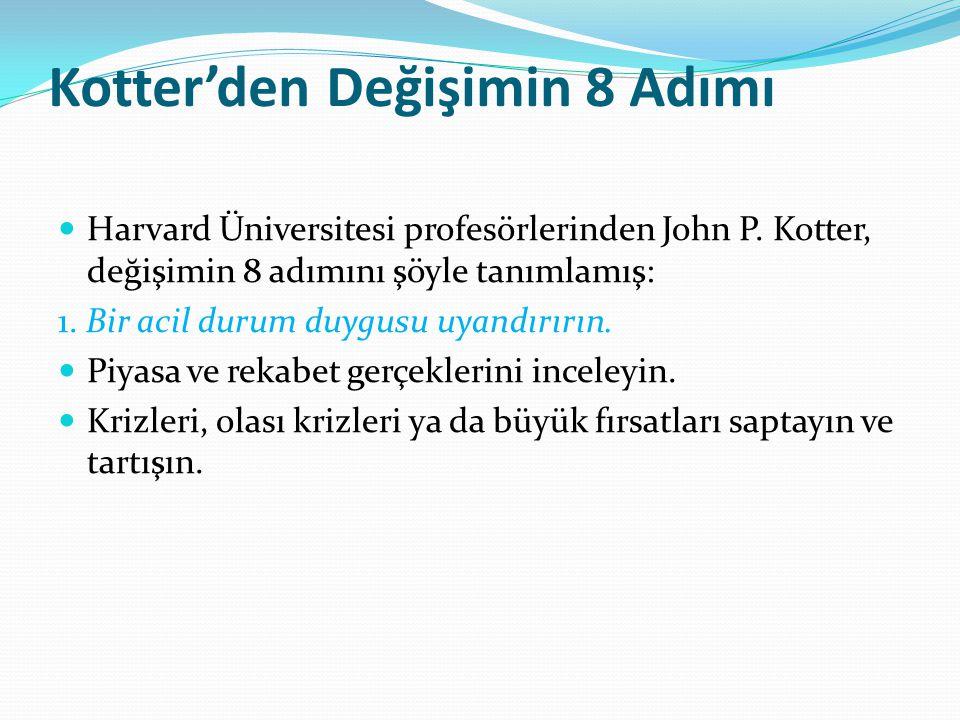 Kotter'den Değişimin 8 Adımı Harvard Üniversitesi profesörlerinden John P. Kotter, değişimin 8 adımını şöyle tanımlamış: 1. Bir acil durum duygusu uya