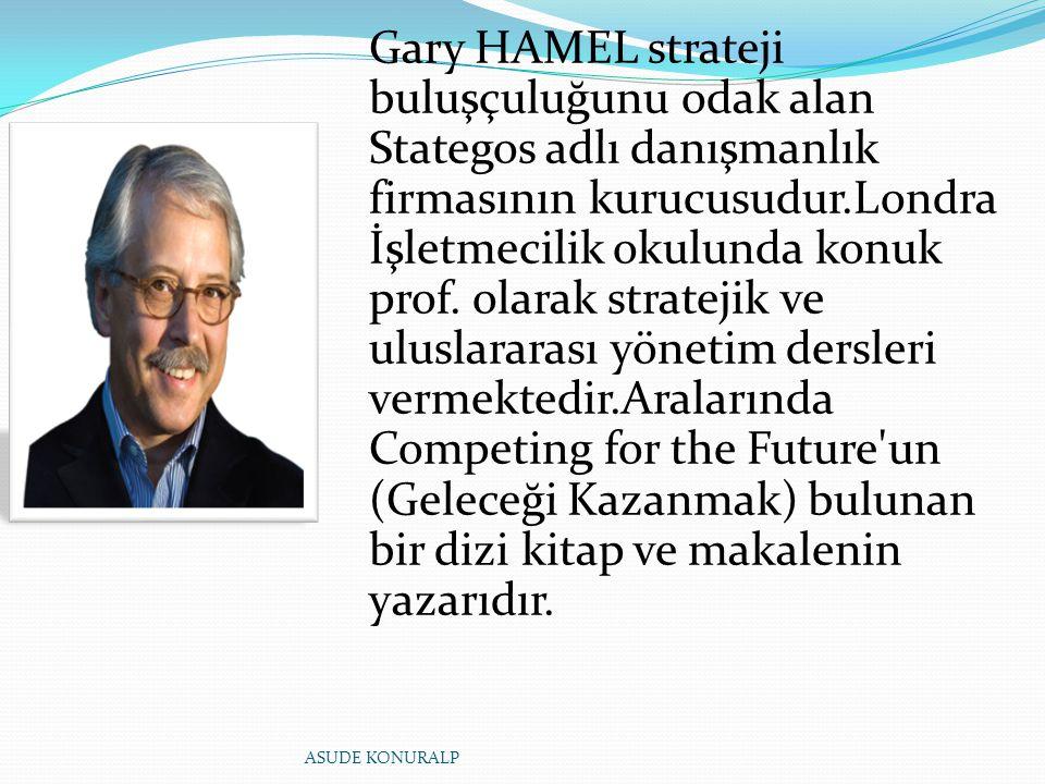 Gary HAMEL strateji buluşçuluğunu odak alan Stategos adlı danışmanlık firmasının kurucusudur.Londra İşletmecilik okulunda konuk prof. olarak stratejik