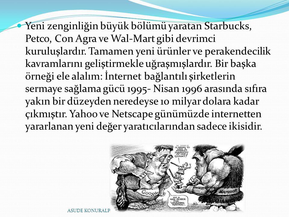 Yeni zenginliğin büyük bölümü yaratan Starbucks, Petco, Con Agra ve Wal-Mart gibi devrimci kuruluşlardır. Tamamen yeni ürünler ve perakendecilik kavra