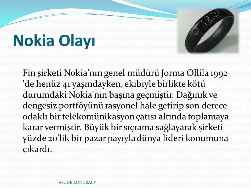 Nokia Olayı Fin şirketi Nokia'nın genel müdürü Jorma Ollila 1992 'de henüz 41 yaşındayken, ekibiyle birlikte kötü durumdaki Nokia'nın başına geçmiştir