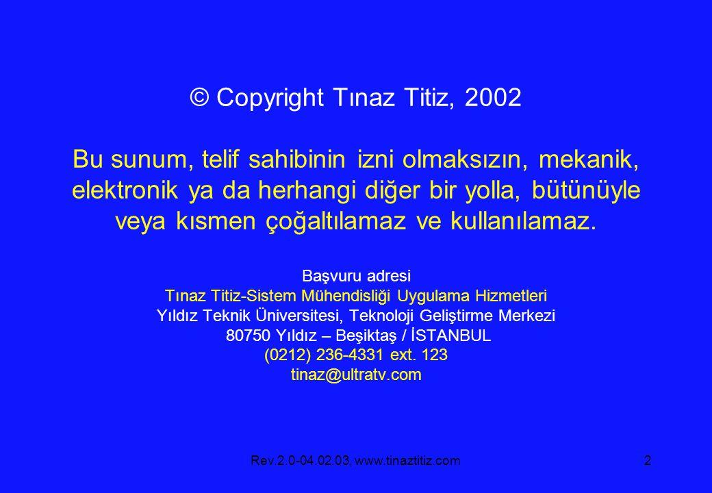 Rev.2.0-04.02.03, www.tinaztitiz.com2 © Copyright Tınaz Titiz, 2002 Bu sunum, telif sahibinin izni olmaksızın, mekanik, elektronik ya da herhangi diğer bir yolla, bütünüyle veya kısmen çoğaltılamaz ve kullanılamaz.